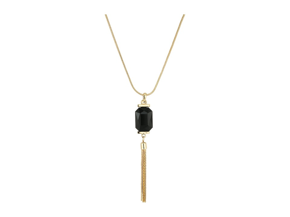 GUESS - Rectangular Faceted Stone with Tassel Pendant Necklace (Gold/Crystal/Jet) Necklace