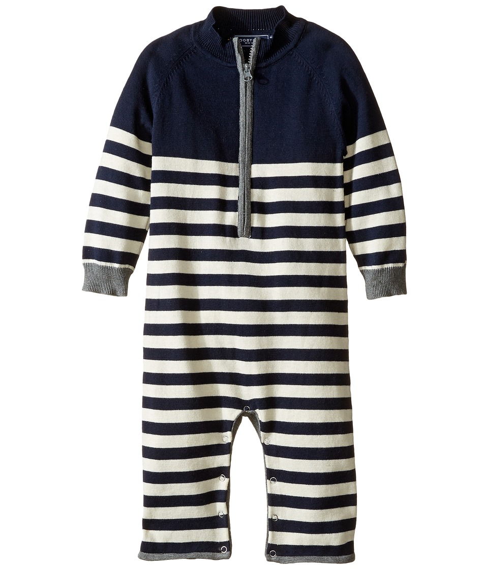 Toobydoo - Winter Stripe Zip Jumpsuit (Infant) (Navy/White/Gray Zipper) Boy's Jumpsuit & Rompers One Piece