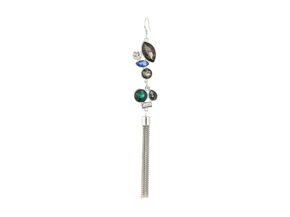 GUESS - Multi Stone Drop Ear with Chain Fringe Earrings (Silver/Crystal/Black/Diamond) Earring