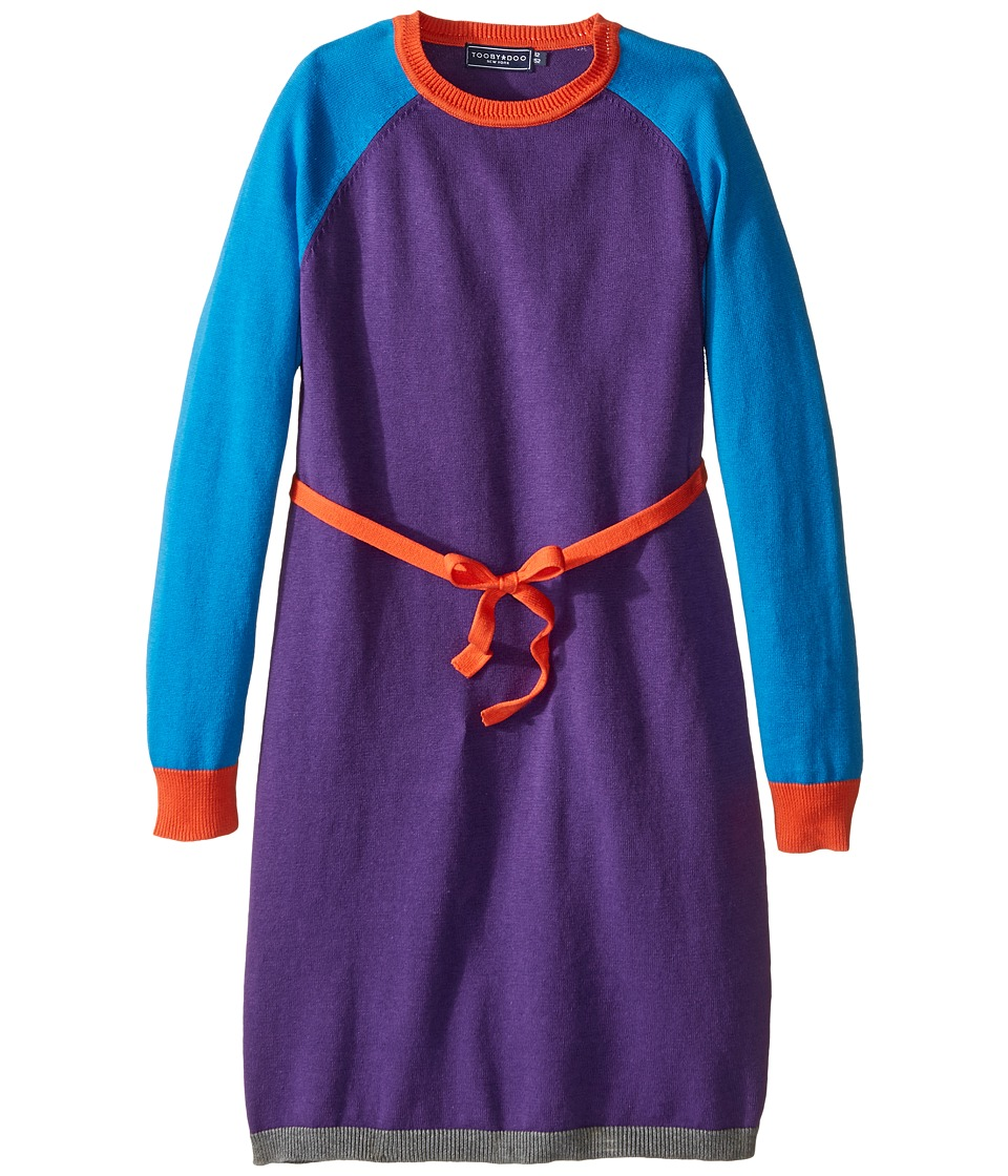 Toobydoo - Caroline Belted Sweater Dress (Toddler/Little Kids/Big Kids) (Cobalt Blue/Orange/Purple) Girl's Dress