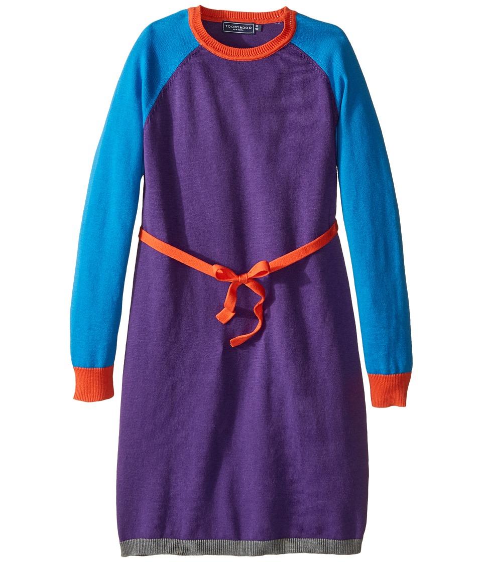 Toobydoo - Caroline Belted Sweater Dress (Toddler/Little Kids/Big Kids) (Cobalt Blue/Orange/Purple) Girl's Dress