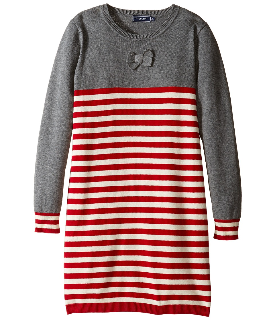Toobydoo - Noelle Party Dress (Toddler/Little Kids/Big Kids) (Red/White/Grey) Girl's Dress