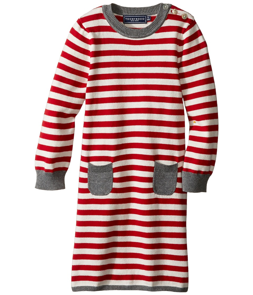 Toobydoo - Little Stripe Sweater Dress (Infant/Toddler) (Red/White/Grey) Girl's Dress