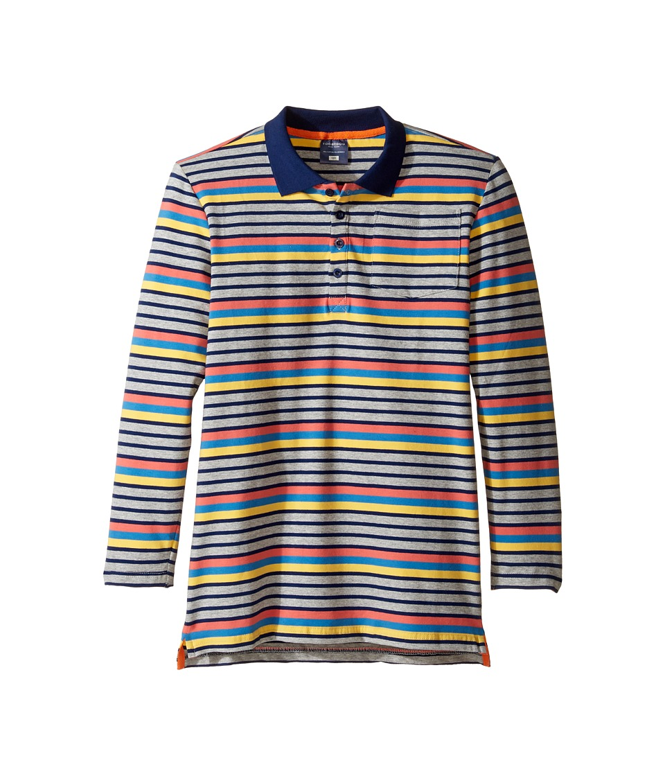 Toobydoo - Multi Stripe Long Sleeve Polo (Toddler/Little Kids/Big Kids) (Gray/Navy/Orange/Blue/Yellow) Boy's Clothing