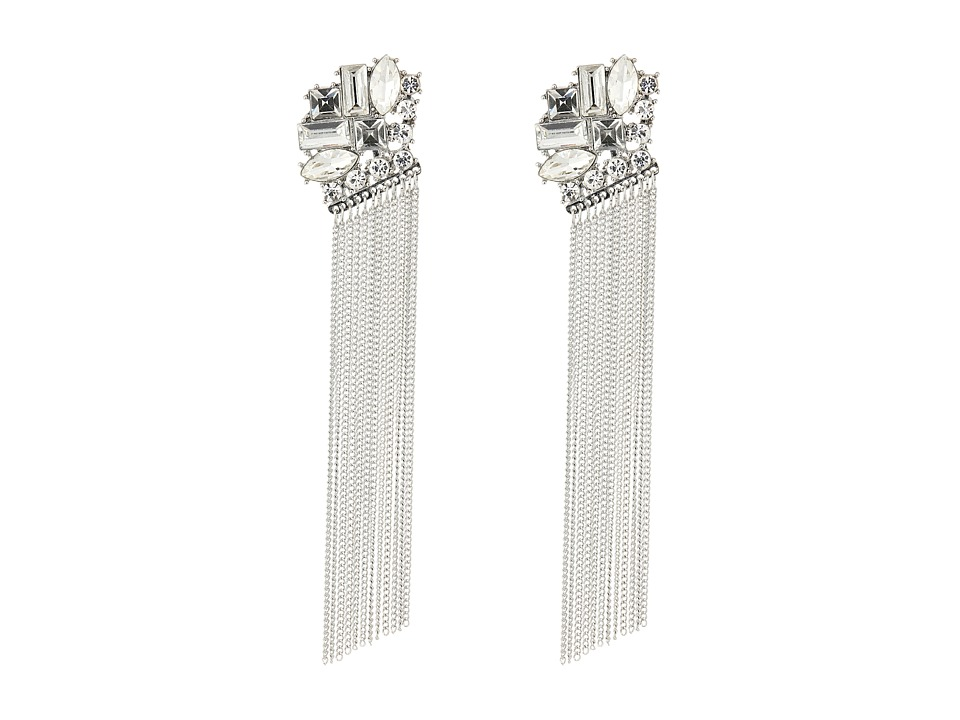 GUESS - Stone Cluster Top with Chain Fringe Linear Earrings (Silver/Crystal) Earring