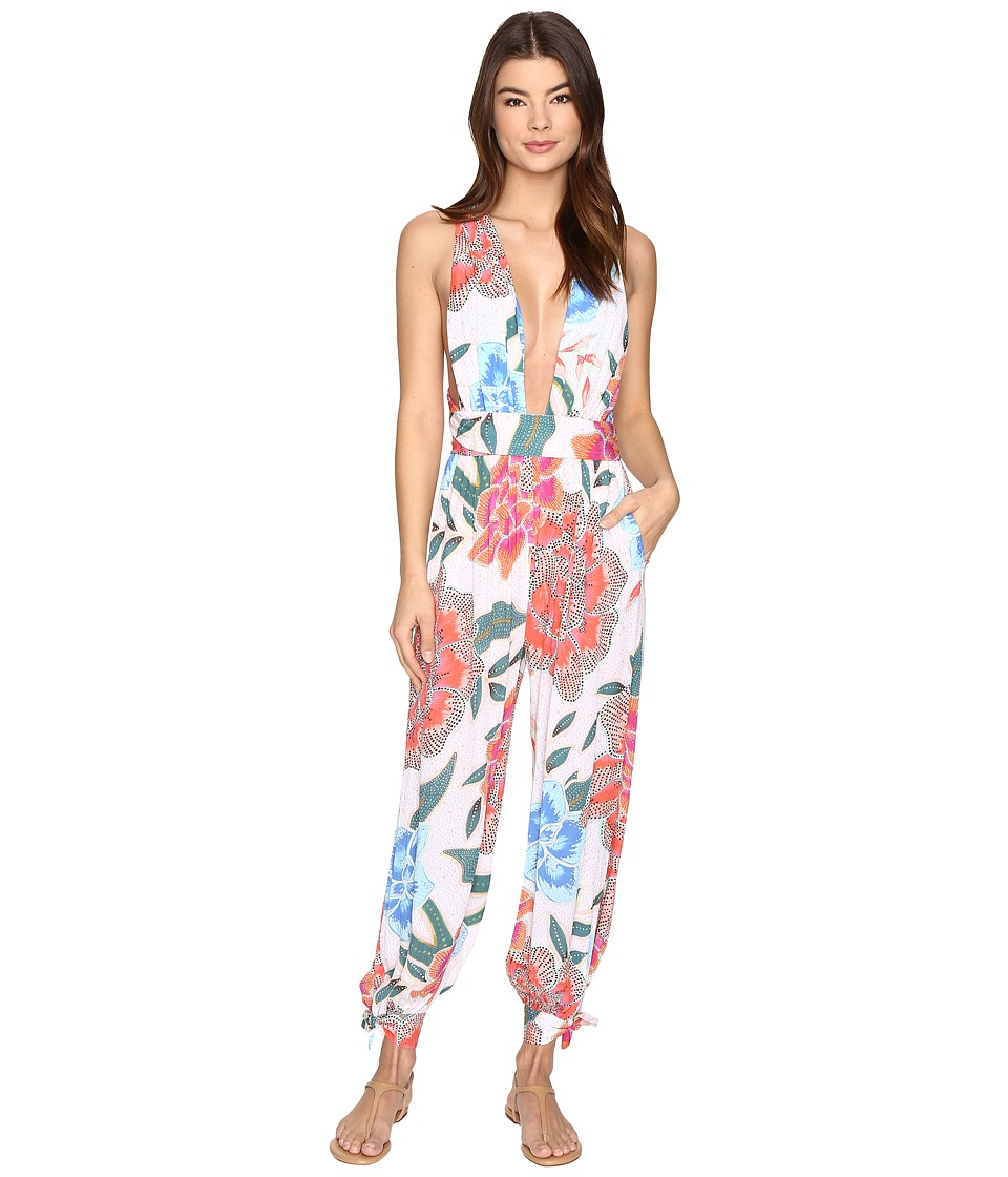 Mara Hoffman - Arcadia Wrap Jumpsuit (White/Pink) Women's Jumpsuit & Rompers One Piece