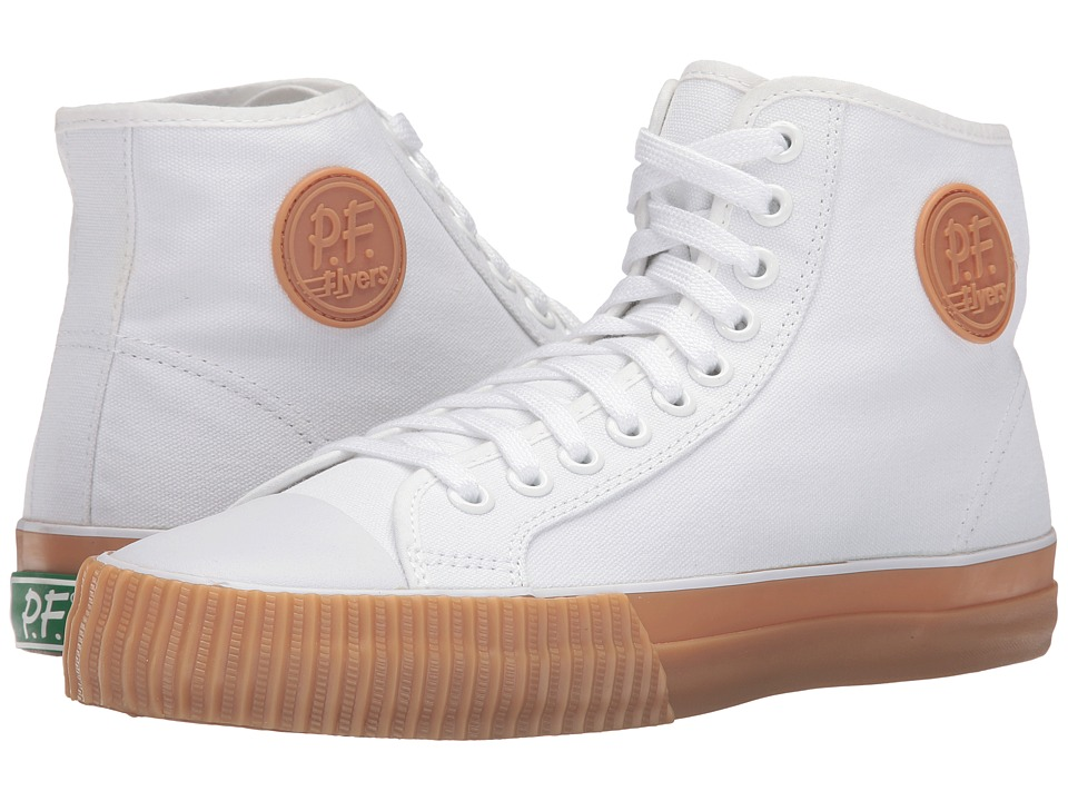 PF Flyers - Center Hi Canvas (White/Gum Sole) Lace up casual Shoes