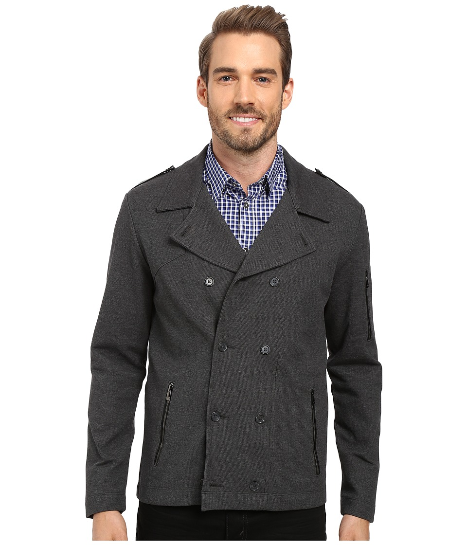 Calvin Klein - Long Sleeve Textured Ponte Double Knit Shirt (Gunmetal Heather) Men's Long Sleeve Button Up