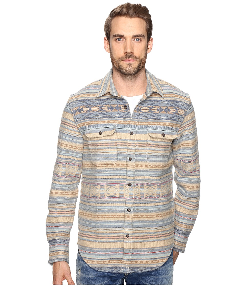 Lucky Brand Clean Two-Pocket Shirt (Khaki/Blue Jacquard) Men