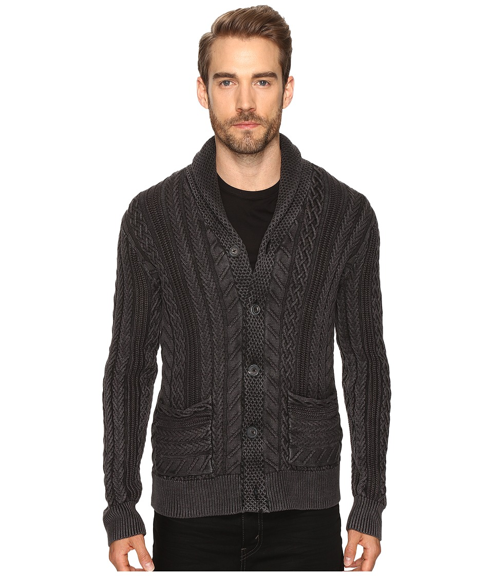 Lucky Brand - Snowpeak Cable Shawl Cardigan Sweater (Jet Black) Men's Sweater