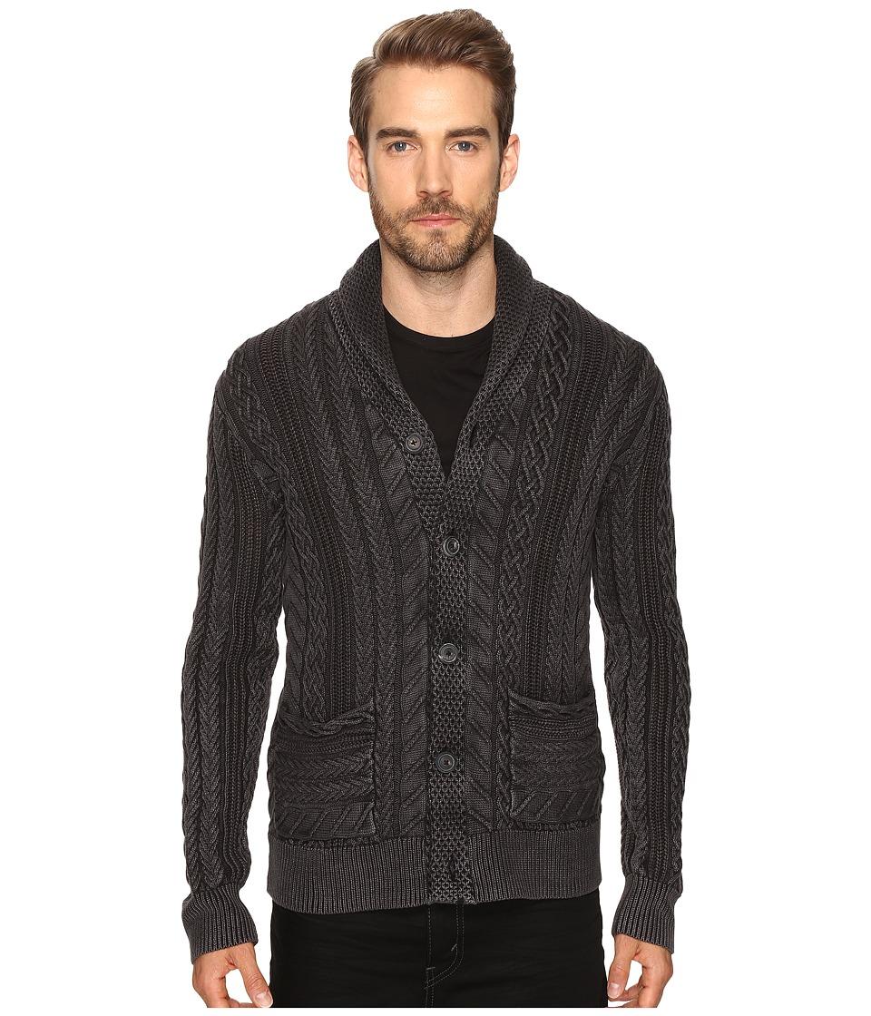 Lucky Brand - Snowpeak Cable Shawl Cardigan Sweater (Jet Black) Men's Sweater