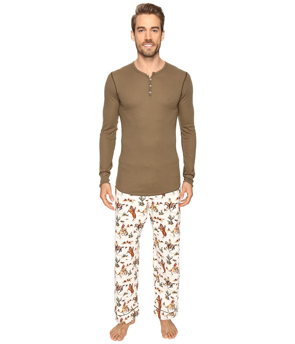 BedHead - Long Sleeve Henley Pajama Set (Hi Ho Silver) Men's Pajama Sets