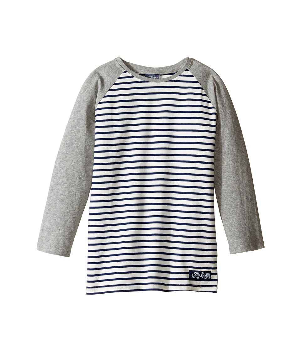 Toobydoo - Navy Stripe Baseball Tee (Infant/Toddler/Little Kids/Big Kids) (Grey/Navy/White) Boy's T Shirt