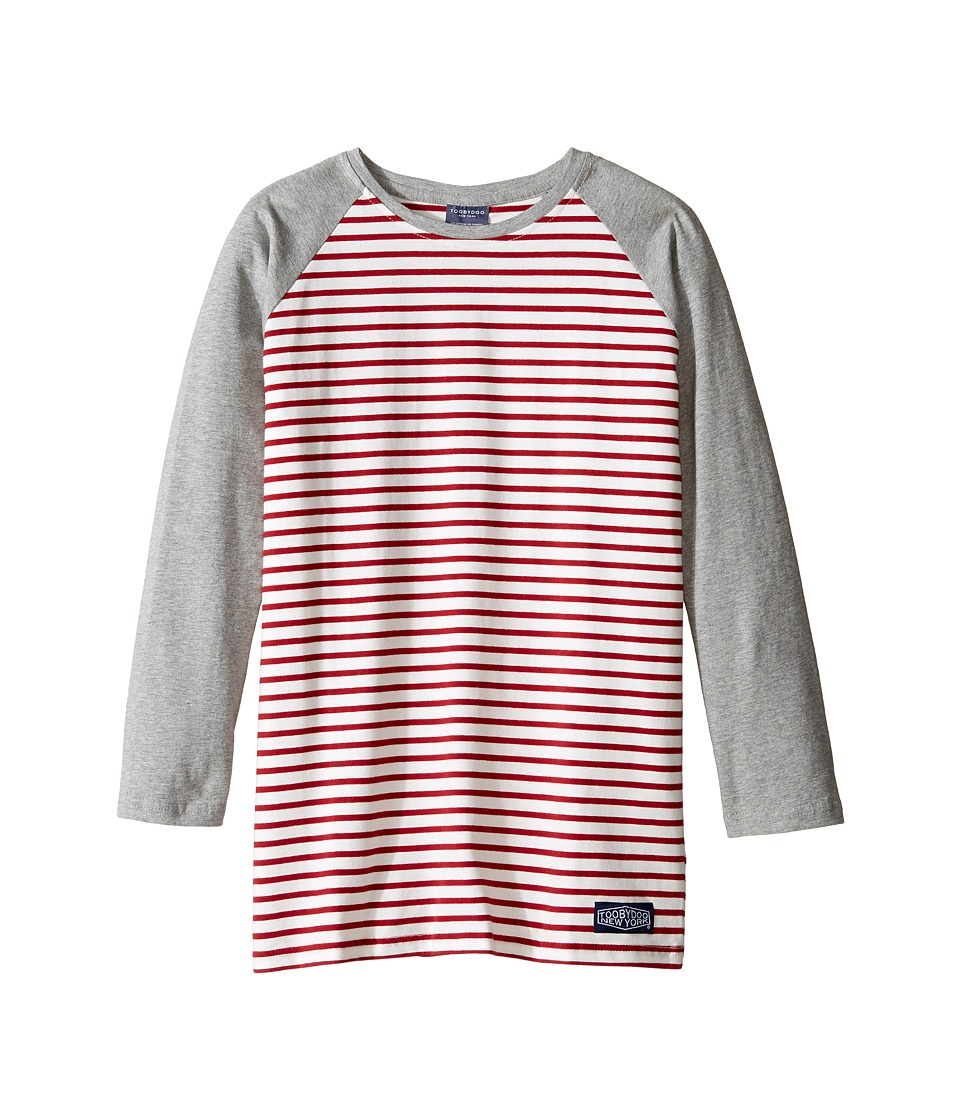 Toobydoo - Red Stripe Baseball Tee (Infant/Toddler/Little Kids/Big Kids) (Grey/White/Red) Boy's T Shirt