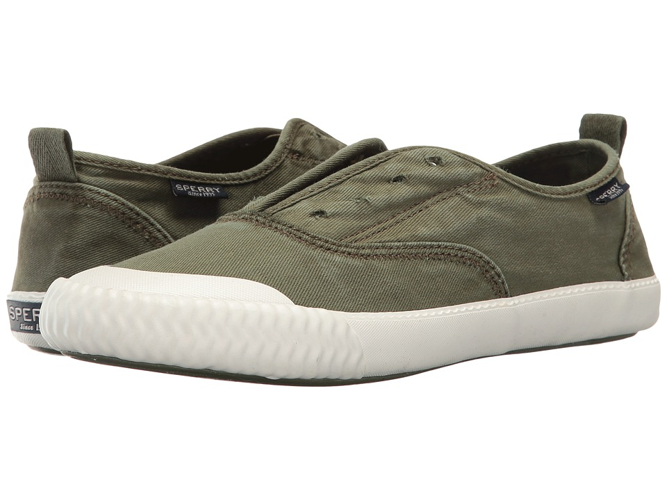 Sperry - Sayel Clew Washed Canvas (Olive) Women's Slip on Shoes