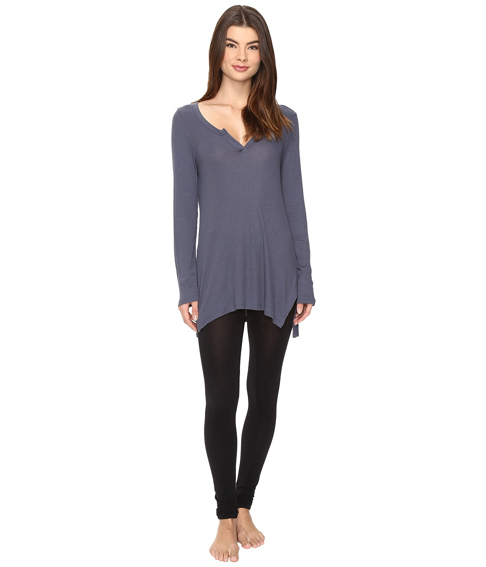 Yummie - 2x1 Rib Long Sleeve Top (Ombre Blue) Women's Clothing