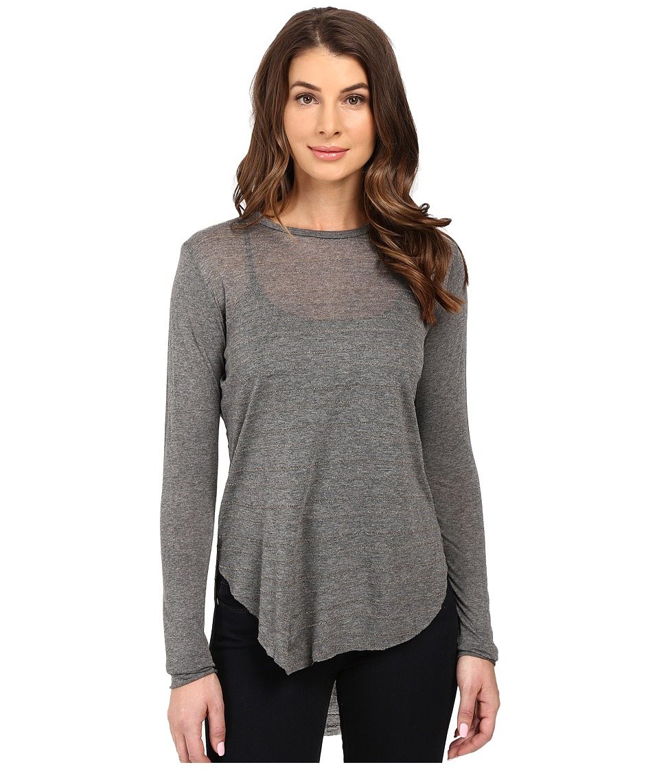 The Beginning Of - Courtney High-Low Mixed Stripe Long Sleeve Crew (Thin Stripe) Women's Clothing
