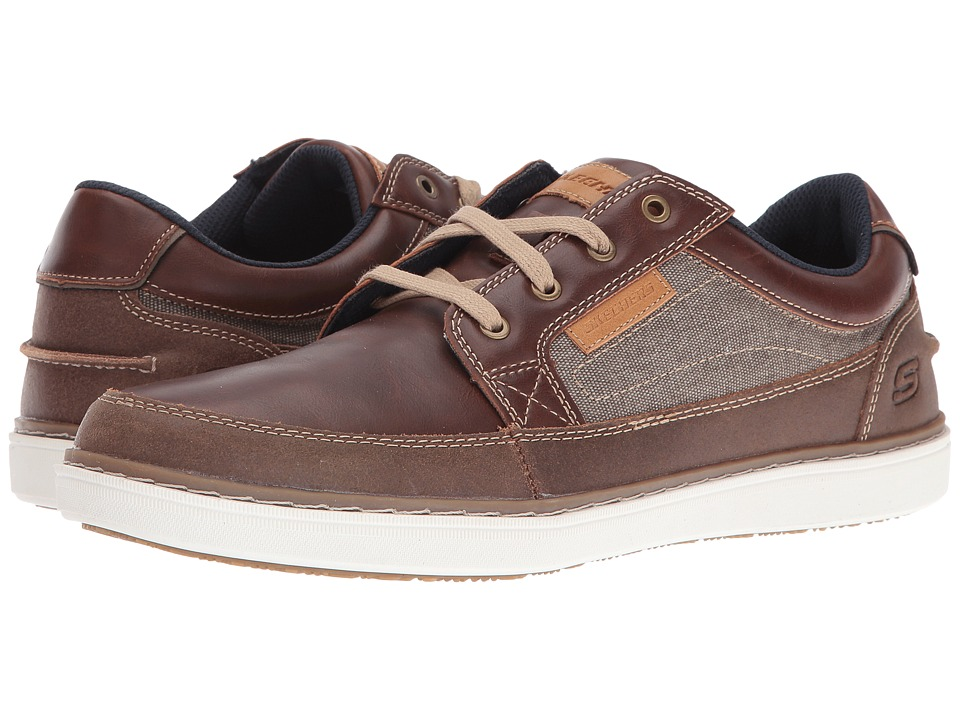 SKECHERS Classic Fit Lanson Elaven Red Brown Leather Mens Shoes