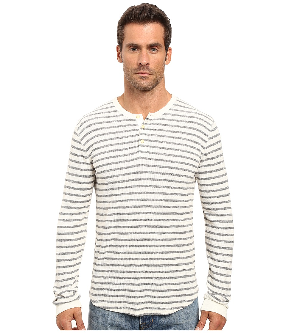 Lucky Brand - Lived-In Stripe Henley (Oatmeal) Men's Clothing
