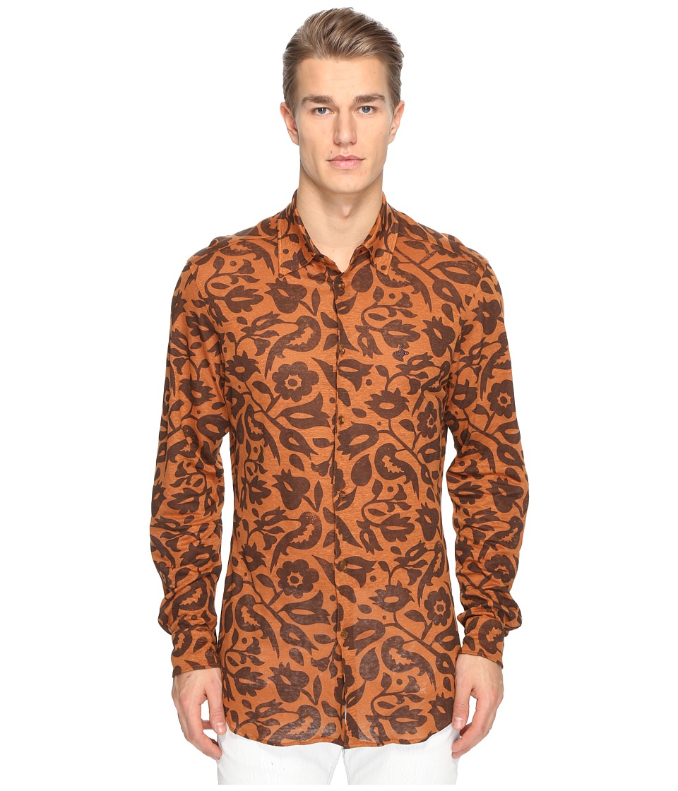 Vivienne Westwood - Frida Printed Linen Shirt (Ginger) Men's Clothing