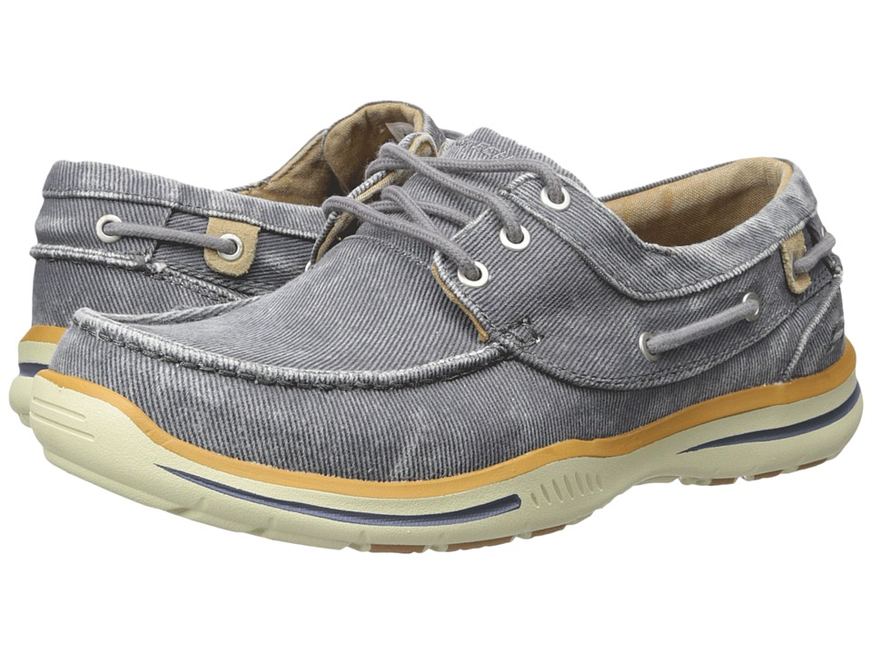 SKECHERS - Relaxed Fit Elected Horizon (Charcoal Washed Canvas) Men's Shoes