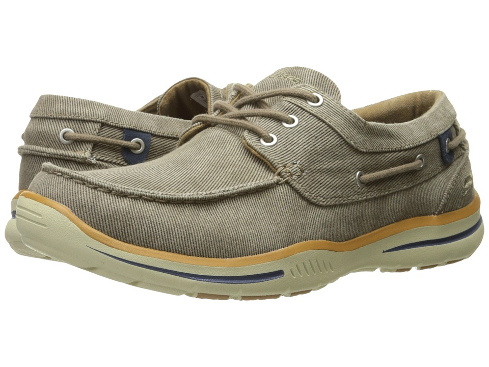 SKECHERS Relaxed Fit Elected Horizon (Light Brown Washed Canvas) Men