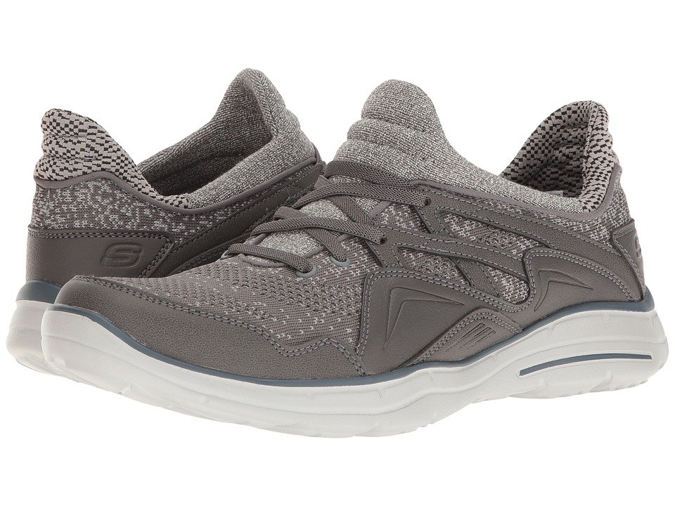 SKECHERS Relaxed Fit Glides Kenton (Gray Knitted Mesh) Men