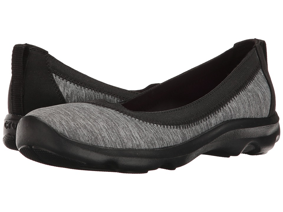 Crocs - Busy Day Stretch Flat Ballet NM Heathered (Dark Grey) Women's Shoes