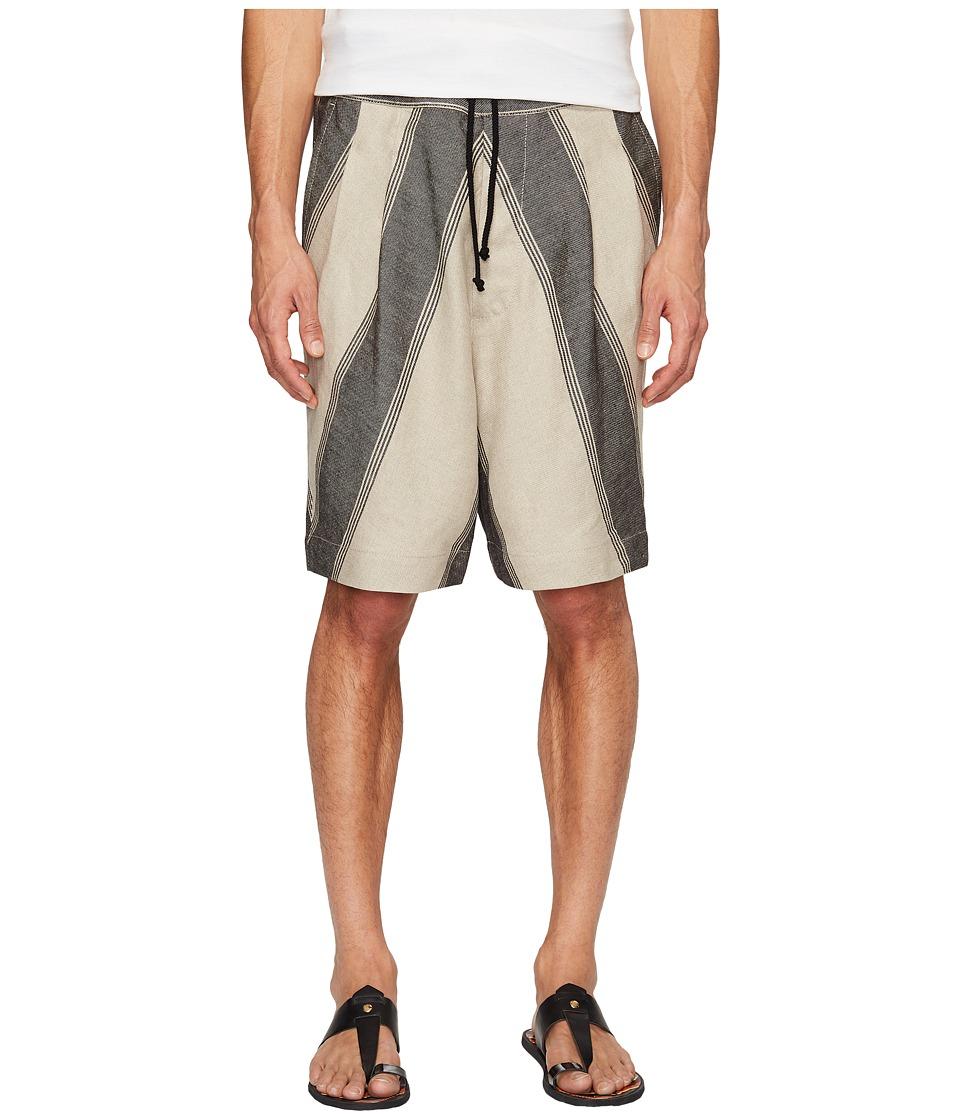 Vivienne Westwood - Linen Stripe Samurai Shorts (Beige) Men's Shorts