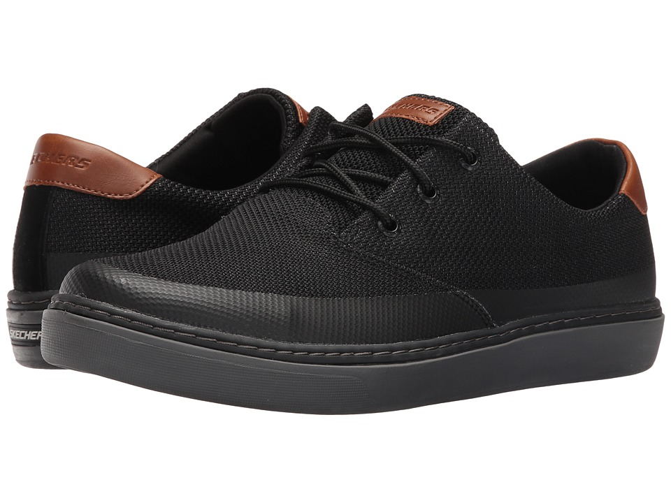SKECHERS - Relaxed Fit Palen - Repend (Black Knitted Mesh) Men's Shoes