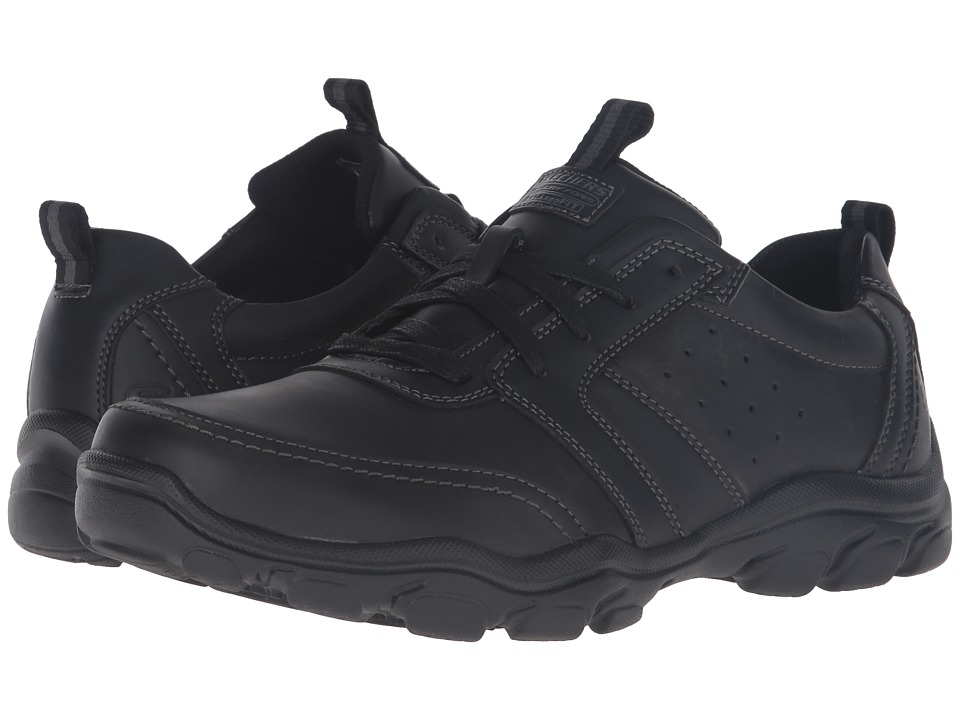 SKECHERS Relaxed Fit Montz Brex (Black Leather) Men