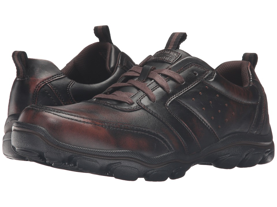 SKECHERS - Relaxed Fit Montz - Brex (Dark Brown Leather) Men's Shoes