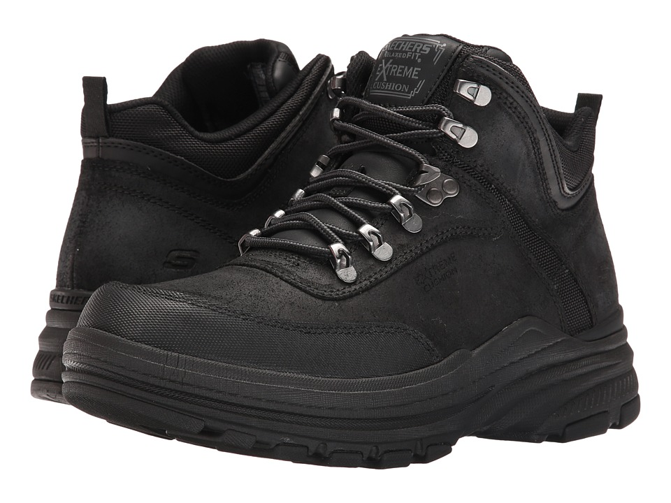 SKECHERS - Relaxed Fit Holdren - Brenton (Black Leather) Men's Shoes