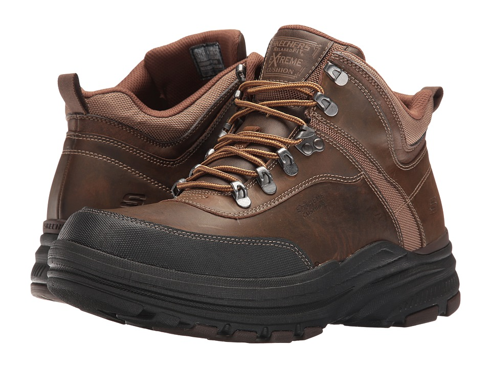 SKECHERS - Relaxed Fit Holdren - Brenton (Dark Brown Leather) Men's Shoes