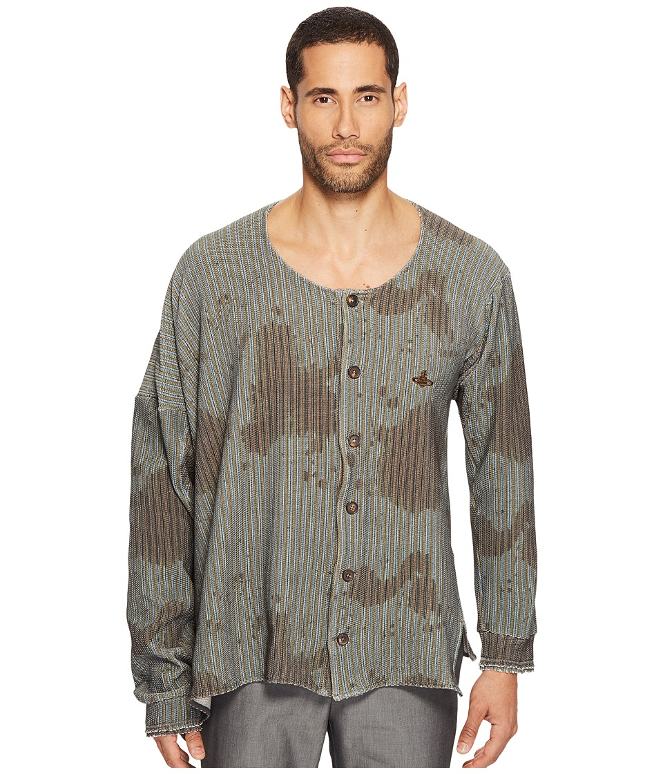 Vivienne Westwood - Jiggle Ticking Print Shirt (Brown) Men's Clothing