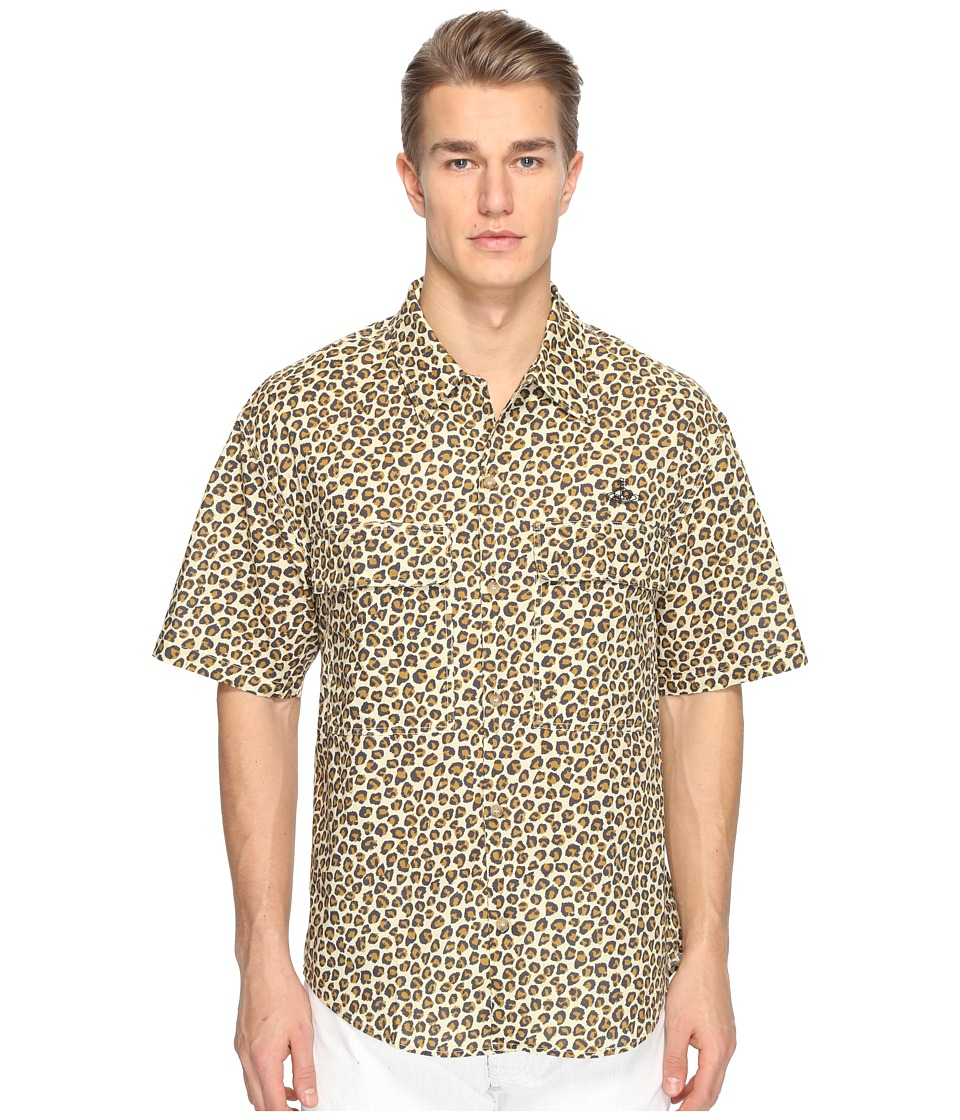 Vivienne Westwood - Anglomania Lee Bowling Shirt (Leopard) Men's Clothing