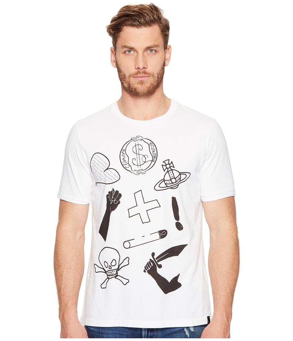 Vivienne Westwood - Anglomania Lee Classic Mix Logo's T-Shirt (White) Men's T Shirt