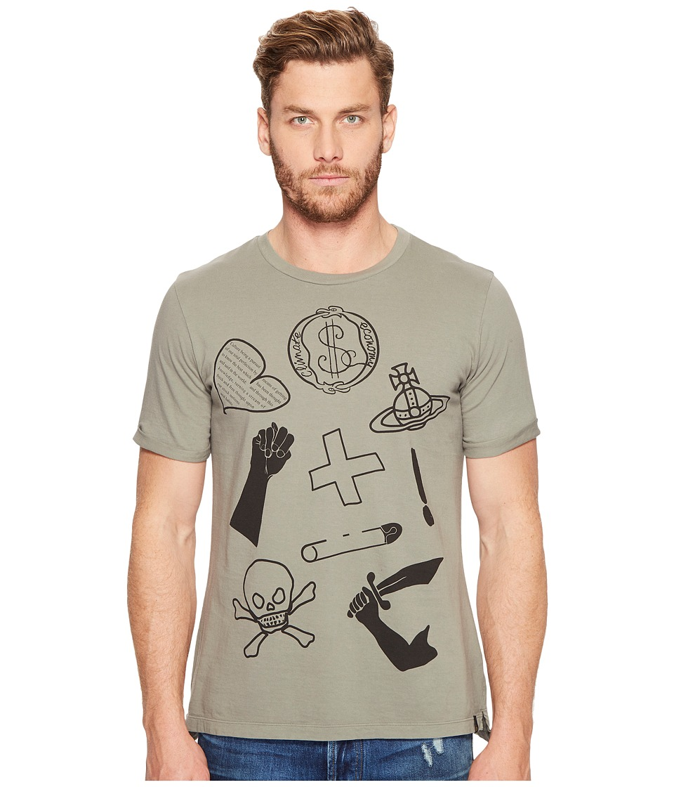 Vivienne Westwood - Anglomania Lee Classic Mix Logo's T-Shirt (Military Green) Men's T Shirt
