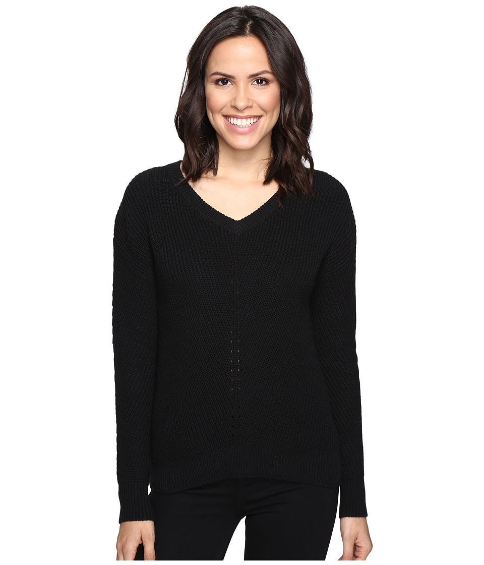 Michael Stars Alpine Knit V-Neck Cold Shoulder Sweater (Black) Women