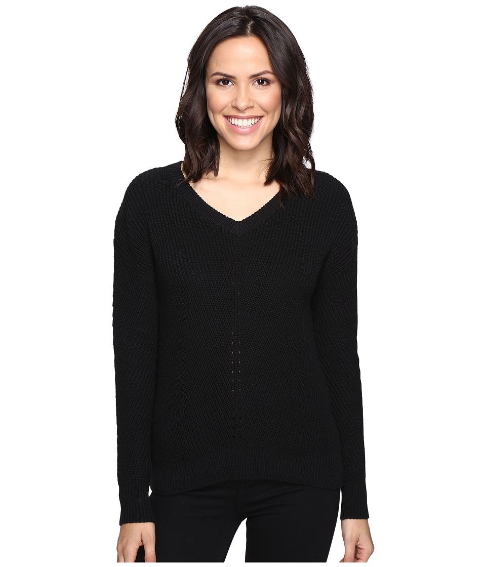 Michael Stars - Alpine Knit V-Neck Cold Shoulder Sweater (Black) Women's Sweater