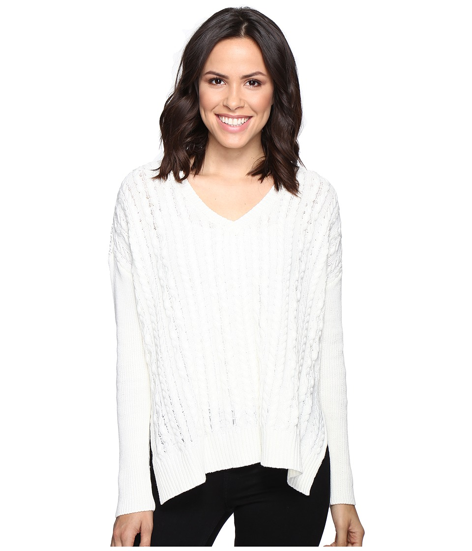 Michael Stars Alpine Knit V-Neck Cable Knit Sweater (Ivory) Women