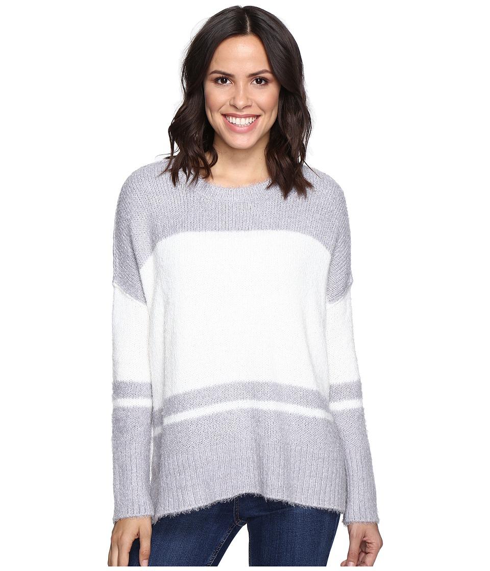 Michael Stars - Fuzzy Oversized Stripe Pullover Sweater (Silver/Ivory) Women's Sweater