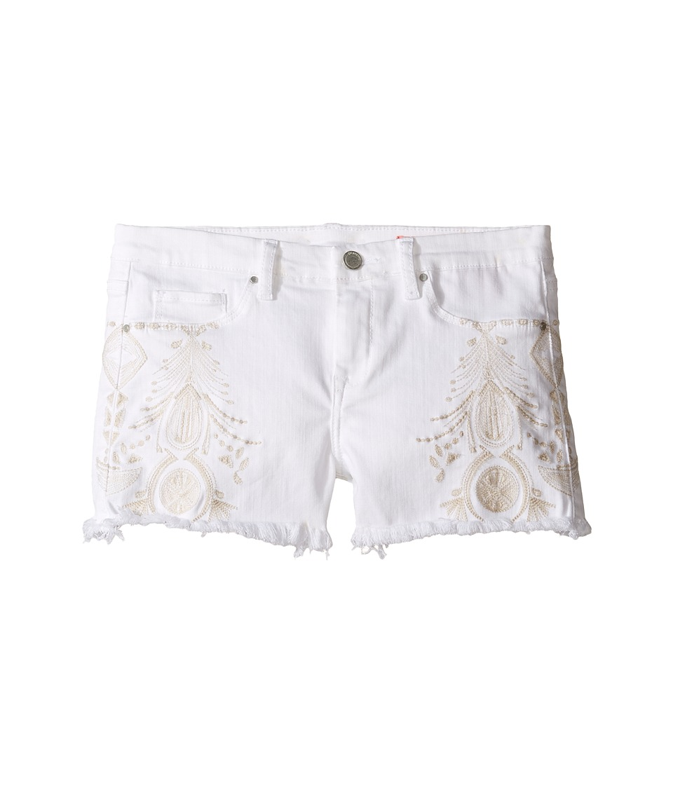 Blank NYC Kids - White Embroidered Cut Off Shorts (Big Kids) (White) Girl's Shorts