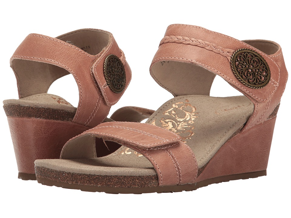 Aetrex - Arielle Wedge Sandal (Blush) Women's Wedge Shoes