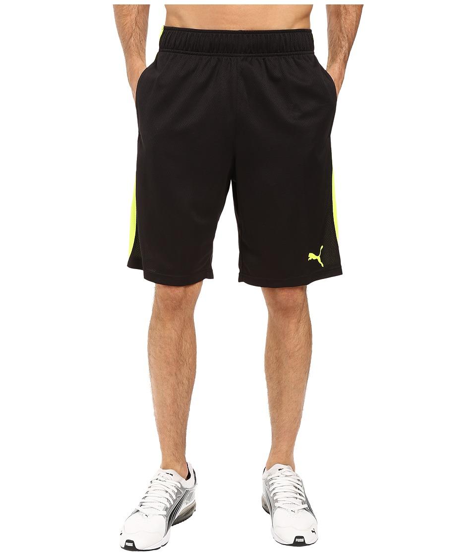 PUMA - Formstripe Mesh Shorts (Puma Black/Safety Yellow) Men's Shorts