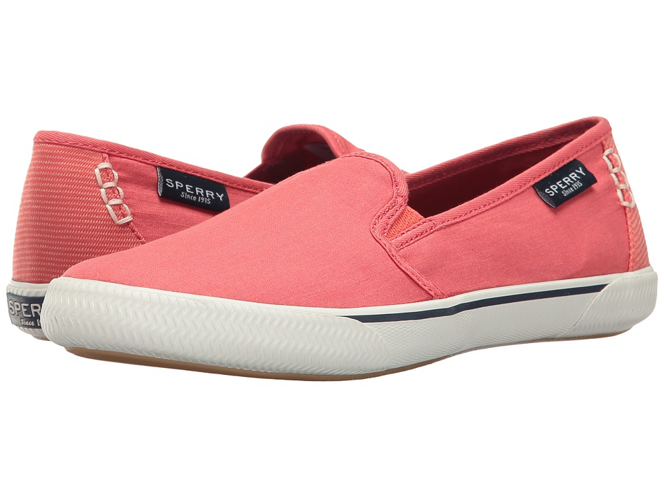 Sperry - Quest Cay Canvas (Coral) Women's Slip on Shoes