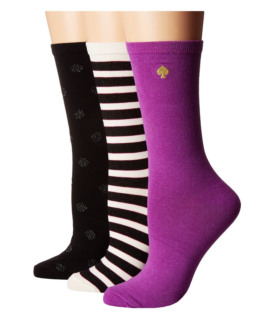 Kate Spade New York - Stripe/Solid/Dot Gift Box Item 3-Pack (Pink/Black) Women's Crew Cut Socks Shoes