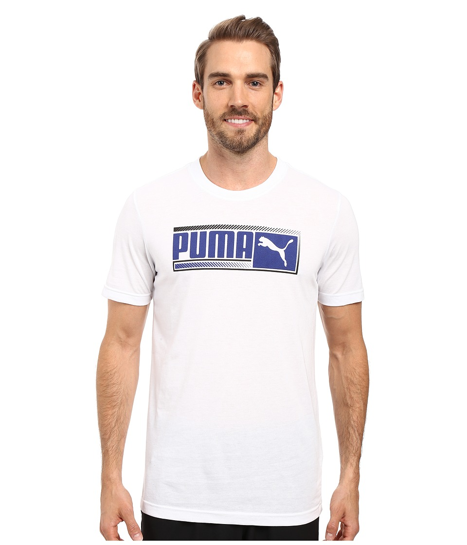 PUMA - Sueded Perf Tee (White/Surf The Web) Men