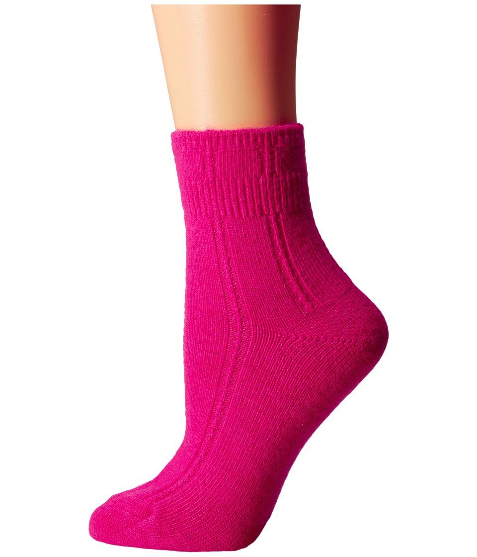 Kate Spade New York - Mixed Rib w/ Bow Charm Home Sock 1-Pack (Cabaret Pink) Women's Crew Cut Socks Shoes