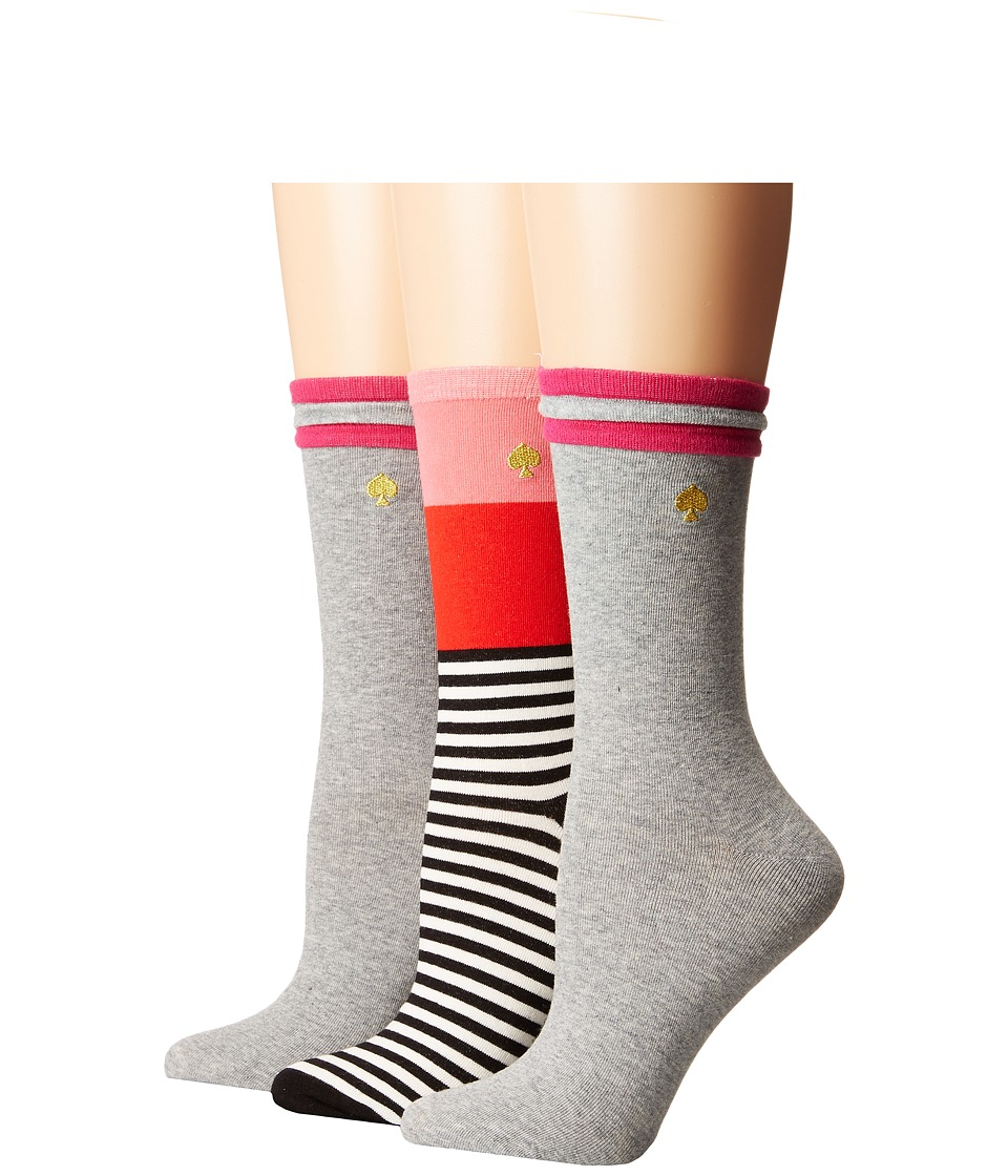 Kate Spade New York - Basic Color Block 3-Pack Crew (Multi) Women's Crew Cut Socks Shoes